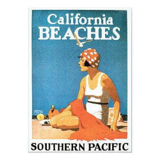 """Poster del viaje del vintage de las playas de invitación 5"""" x 7"""""""