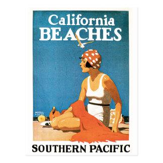 Poster del viaje del vintage de las playas de tarjeta postal