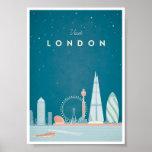 Poster del viaje del vintage de Londres Póster