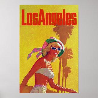 Poster del viaje del vintage de Los Ángeles Póster