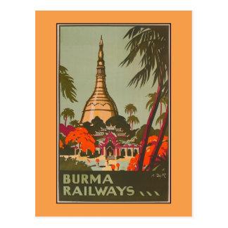 Poster del viaje del vintage de los templos el   postal