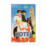 Poster del viaje del vintage de Madrid del hotel Postal