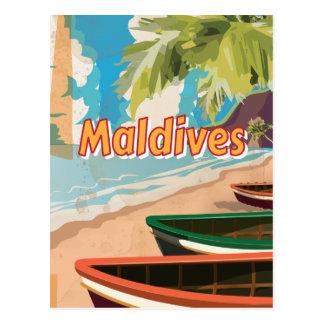 Poster del viaje del vintage de Maldivas Tarjetas Postales