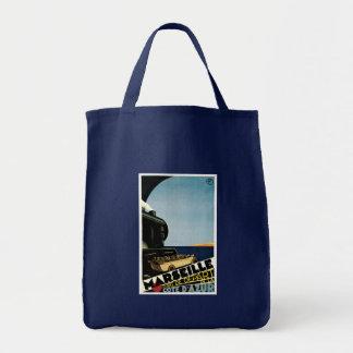 Poster del viaje del vintage de Marsella/de Cote d Bolsa Tela Para La Compra