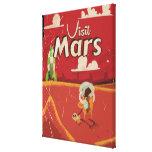 Poster del viaje del vintage de Marte Impresiones En Lienzo Estiradas
