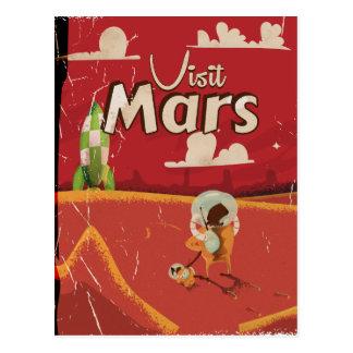 Poster del viaje del vintage de Marte Tarjetas Postales
