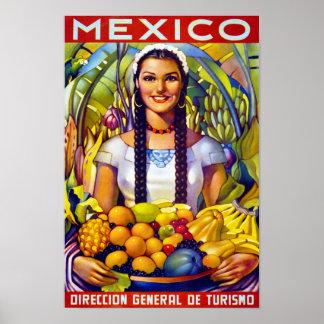 Poster del viaje del vintage de México restaurado