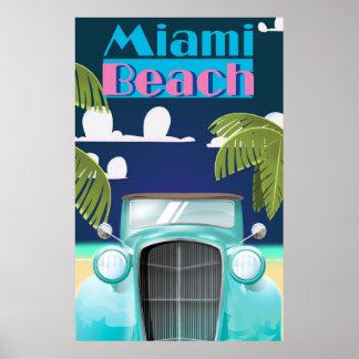 Poster del viaje del vintage de Miami Beach, la Póster