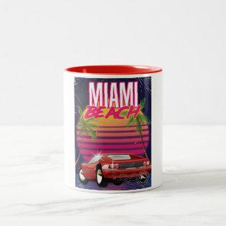 poster del viaje del vintage de Miami Beach Taza De Dos Tonos
