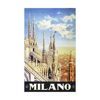 Poster del viaje del vintage de Milano Italia Impresiones En Lona