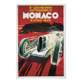 Poster del viaje del vintage de Mónaco Grand Prix
