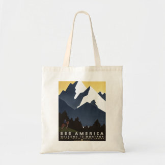 "Poster del viaje del vintage de Montana ""vea Bolsa Tela Barata"