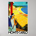Poster del viaje del vintage de Monte Carlo