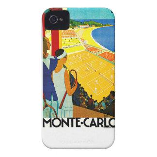 Poster del viaje del vintage de Monte Carlo iPhone 4 Carcasas
