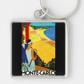 Poster del viaje del vintage de Monte Carlo Llaveros
