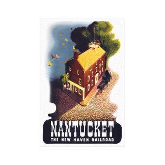 Poster del viaje del vintage de Nantucket Lona Estirada Galerías