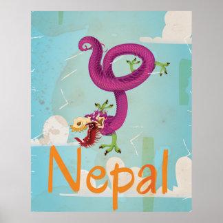 Poster del viaje del vintage de Nepal