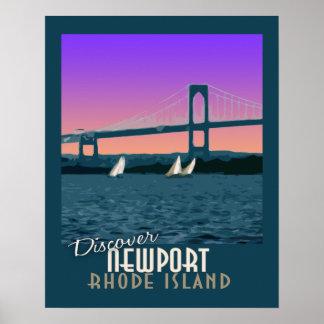 Poster del viaje del vintage de Newport Rhode