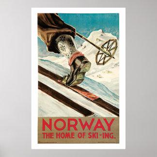 Poster del viaje del vintage de Noruega