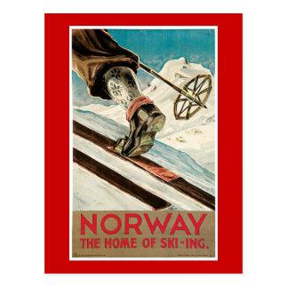 Poster del viaje del vintage de Noruega Postal