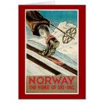Poster del viaje del vintage de Noruega Tarjetón