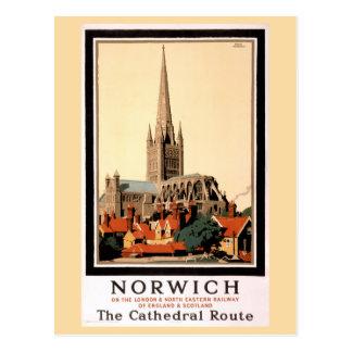Poster del viaje del vintage de Norwich restaurado Postal