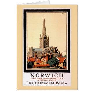 Poster del viaje del vintage de Norwich restaurado Tarjeta De Felicitación