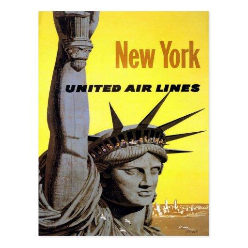 Poster del viaje del vintage de Nueva York América Postal