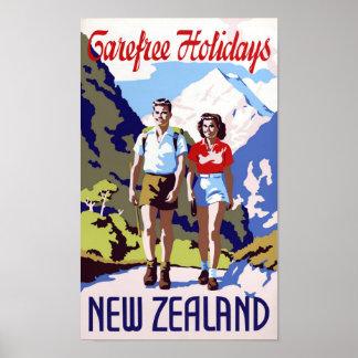 Poster del viaje del vintage de Nueva Zelanda