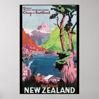 Poster del viaje del vintage de Nueva Zelanda de