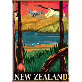 Poster del viaje del vintage de Nueva Zelanda Fotoescultura Vertical