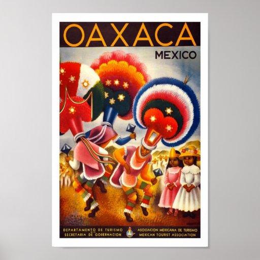 Poster del viaje del vintage de Oaxaca México Nort