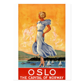 Poster del viaje del vintage de Oslo Noruega Tarjetas Postales