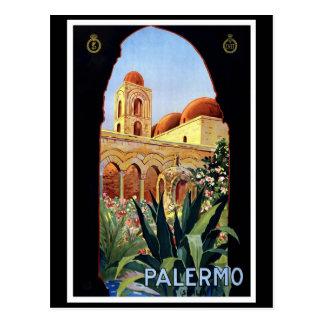 """Poster del viaje del vintage de """"Palermo"""" Postal"""
