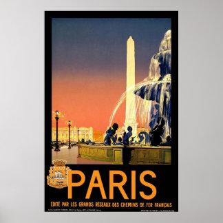 Poster del viaje del vintage de París
