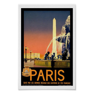 Poster del viaje del vintage de París Francia Póster