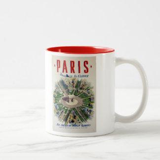 Poster del viaje del vintage de París Francia Taza De Dos Tonos