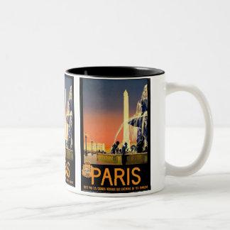 Poster del viaje del vintage de París Tazas