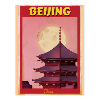Poster del viaje del vintage de Pekín China Tarjeta Postal