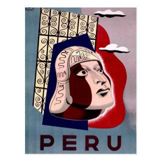 Poster del viaje del vintage de Perú restaurado Postales