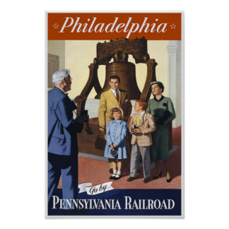Poster del viaje del vintage de Philadelphia