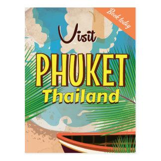 Poster del viaje del vintage de Phuket Tailandia Tarjetas Postales