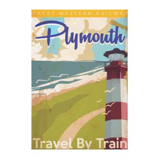 Poster del viaje del vintage de Plymouth Impresiones En Lona