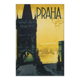Poster del viaje del vintage de Praga