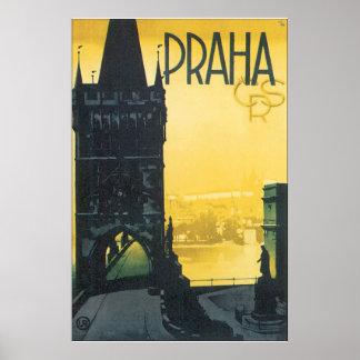 Poster del viaje del vintage de Praga Póster