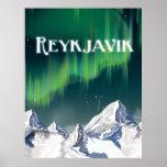 Poster del viaje del vintage de Reykjavik