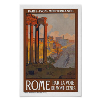 Poster del viaje del vintage de Roma Italia Europa
