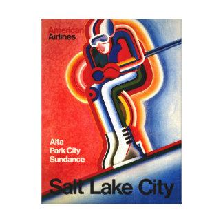 Poster del viaje del vintage de Salt Lake City Impresion En Lona
