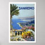 Poster del viaje del vintage de Sanremo Italia Eur