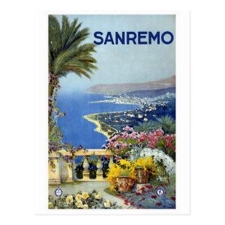 """Poster del viaje del vintage de """"Sanremo"""" Postales"""